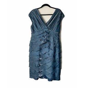 Adrianna Papell Blue Tiered Ruffle Dress - 14